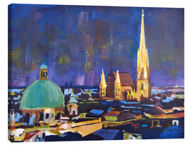 Stampa su tela  Vienna Skyline at Night with St Stephan - M. Bleichner