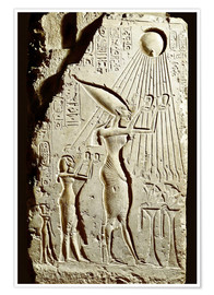 Poster Premium Pharaoh Akhenaten pays homage to the sun god Aten