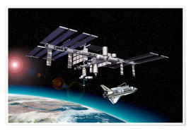 Poster Premium  Space Station in Earth orbit - Leonello Calvetti