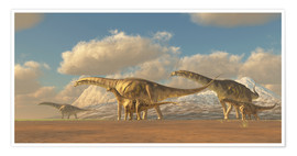 Poster  A herd of Argentinosaurus dinosaurs - Corey Ford