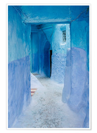 Poster Premium Blue walls and door in medina in Chefchaouen, Morocco