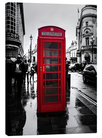 Stampa su tela  Red telephone booth in London - Edith Albuschat
