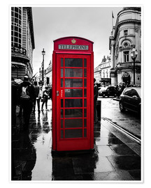 Poster Premium  Red telephone booth in London - Edith Albuschat
