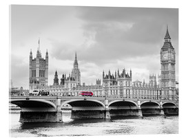 Stampa su vetro acrilico  Westminster bridge with look at Big Ben and House of parliament - Edith Albuschat