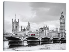 Stampa su tela  Westminster bridge with look at Big Ben and House of parliament - Edith Albuschat