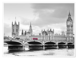 Poster Premium  Westminster bridge with look at Big Ben and House of parliament - Edith Albuschat