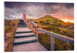 Stampa su vetro acrilico  Dawn at lighthouse 'Red Cliff' (Kampen / Sylt) - Dirk Wiemer
