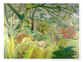 Poster  Tiger in a tropical storm - Henri Rousseau