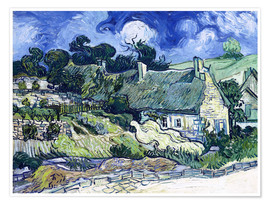 Poster  Thatched cottages at Cordeville - Vincent van Gogh