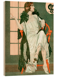 Stampa su legno  Lady writing - Clarence Coles Phillips