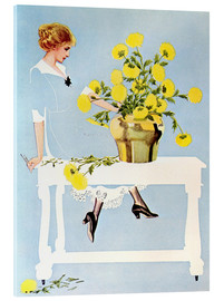 Stampa su vetro acrilico  Housekeeper with bouquet - Clarence Coles Phillips