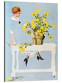 Stampa su alluminio  Housekeeper with bouquet - Clarence Coles Phillips