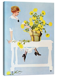 Stampa su tela  Housekeeper with bouquet - Clarence Coles Phillips