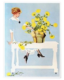 Poster Premium  Housekeeper with bouquet - Clarence Coles Phillips