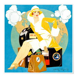 Poster  traveling Lady - Life magazine 1927 - Clarence Coles Phillips