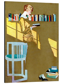 Alluminio Dibond  Read before the Bookshelf - Clarence Coles Phillips