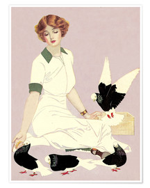 Poster Premium  Woman with Pigeons - Clarence Coles Phillips