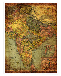 Poster Premium  India 1903 - Michaels Antike Weltkarten