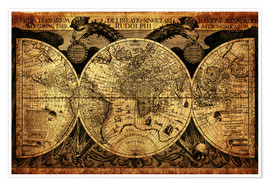 Poster Premium  World 1630 - Michaels Antike Weltkarten