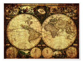 Poster Premium  World 1660 - Michaels Antike Weltkarten