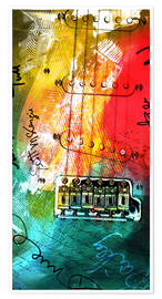Poster Premium  guitar music colorful collage rock n roll - Michael artefacti