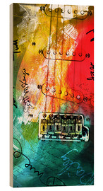 Stampa su legno  guitar music colorful collage rock n roll - Michael artefacti
