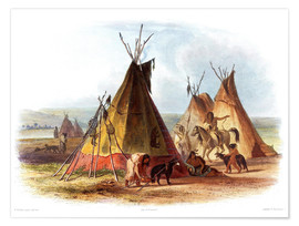 Poster Premium  Camp of Native Americans - Karl Bodmer
