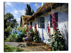 Alluminio Dibond  Knitting girl in front of a hollyhock - Peder Mork Mönsted