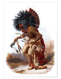 Poster  Indians with blue feathered headdress - Karl Bodmer
