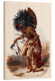 Stampa su legno  Indians with blue feathered headdress - Karl Bodmer