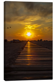 Stampa su tela  Evening sun in St Peter Ording on the North Sea - Dennis Stracke
