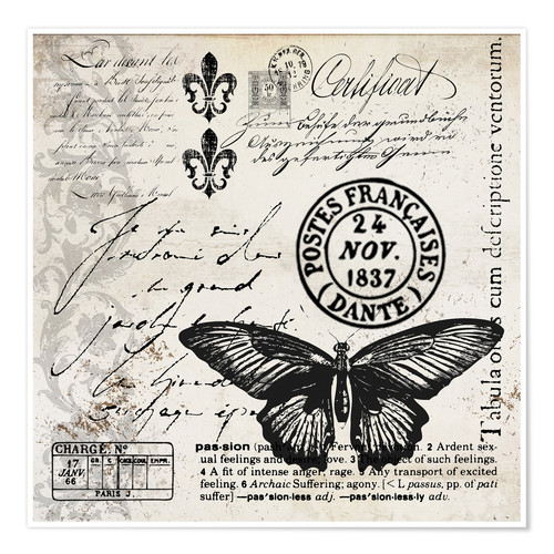 Poster Premium Vintages Butterfly