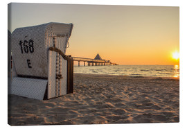 Stampa su tela  Beach chair on Usedom - Dennis Stracke