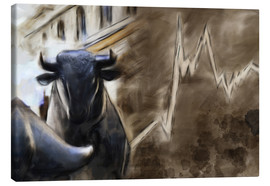 Tela  Bull in front of Frankfurt Stock Exchange - Michael artefacti