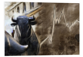 Stampa su schiuma dura  Bull in front of Frankfurt Stock Exchange - Michael artefacti