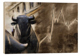 Stampa su legno  Bull in front of Frankfurt Stock Exchange - Michael artefacti