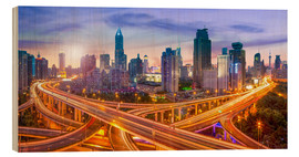 Stampa su legno  Shanghai skyline and traffic at night - Jan Christopher Becke