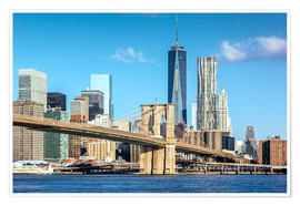 Poster Premium  New York: Brooklyn Bridge and World Trade Center - Sascha Kilmer
