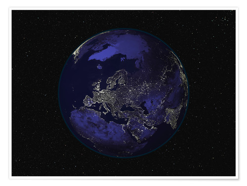 Poster Premium Earth at night - Europe