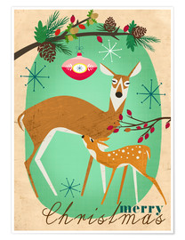 Poster Premium Merry Christmas Deer