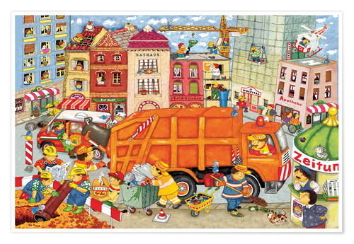 Poster Premium The garbage truck comes