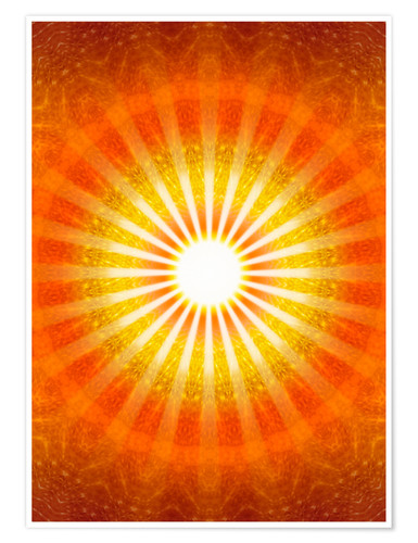 Poster Premium Rays of hope - orange