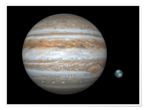 Poster Premium gas giant Jupiter and Earth