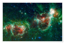 Poster Premium Infrared mosaic of the Heart and Soul nebula