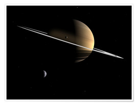 Poster Premium Saturn and its moons Dione and Tethys