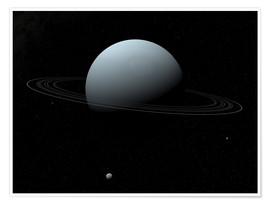 Poster Premium Uranus and its tiny moon Puck