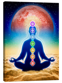 Tela  In Meditation With Chakras - Red Moon Edition - Dirk Czarnota