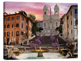 Stampa su tela  Piazza Di Spagna with the Spanish Steps - Dominic Davison