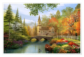 Poster Premium The secluded church in autumn