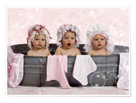 Poster Premium  Toddlers in flowery bonnets - Eva Freyss